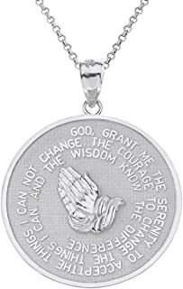 925 Sterling Silver Bible Verse Serenity and Lord's Prayer Medal Pendant Necklace