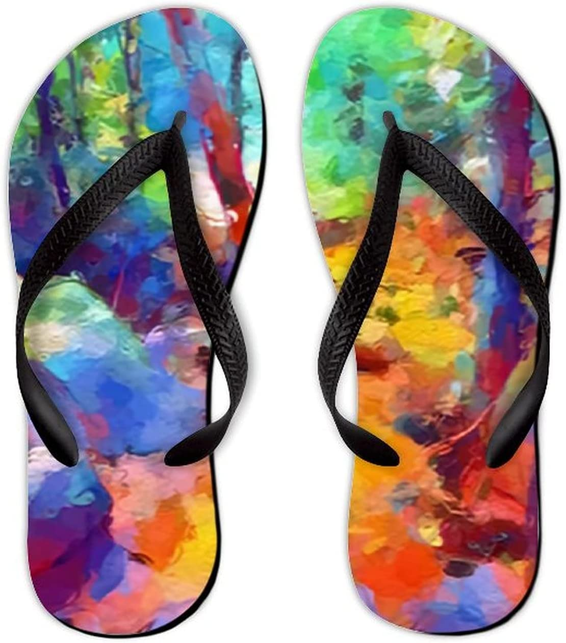 UTF4C Summer Flip Flops for Men Women Art Color Landscape Background Soft Lightweight Non Slip Sandals for Shower Beach Pool Bathroom Flat 11.5