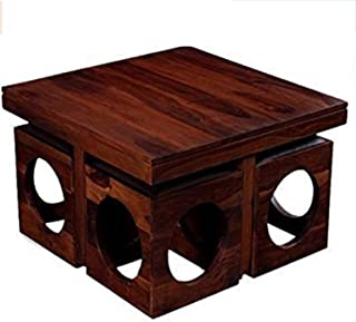Unitek Furniture Multipurpose Solid Sheesham Wood Center Coffee Table with 4 Stools for Living Room Tea Table Furniture fo...