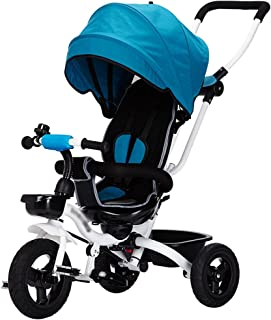 Tengxaing Travel Baby Stroller Children's Tricycle Detachable Height Adjustable Foldable Stroller with Umbrella Pushchairs (Color : Blue)