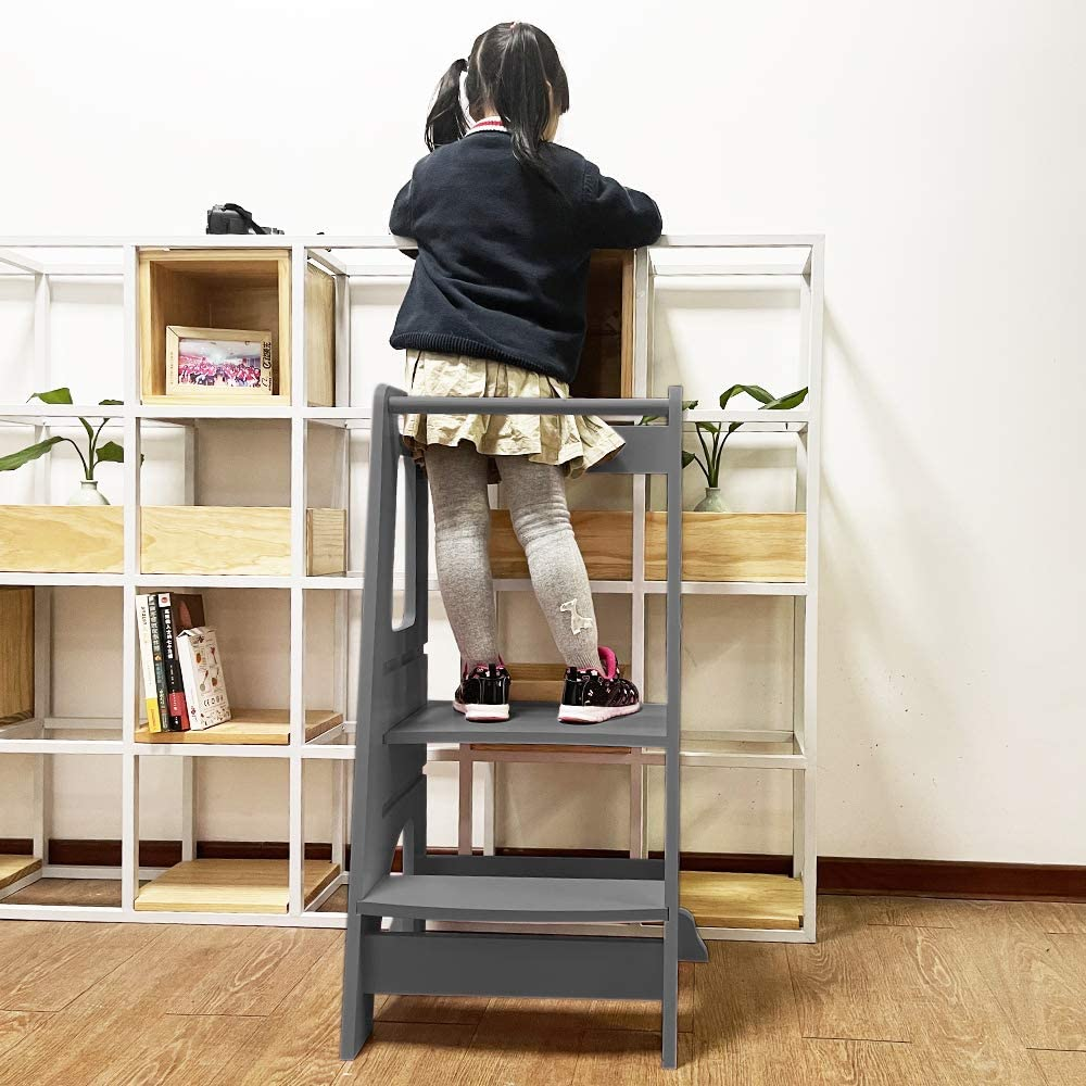 Black Zzbiqs Kids Kitchen Helper Step Stool Height Adjustable Standing Platform Children Standing Tower Wooden Toddlers Learning Helper Tower With Safety Handrail For Kitchen Counter Baby Step Stools Swl13562 Nl