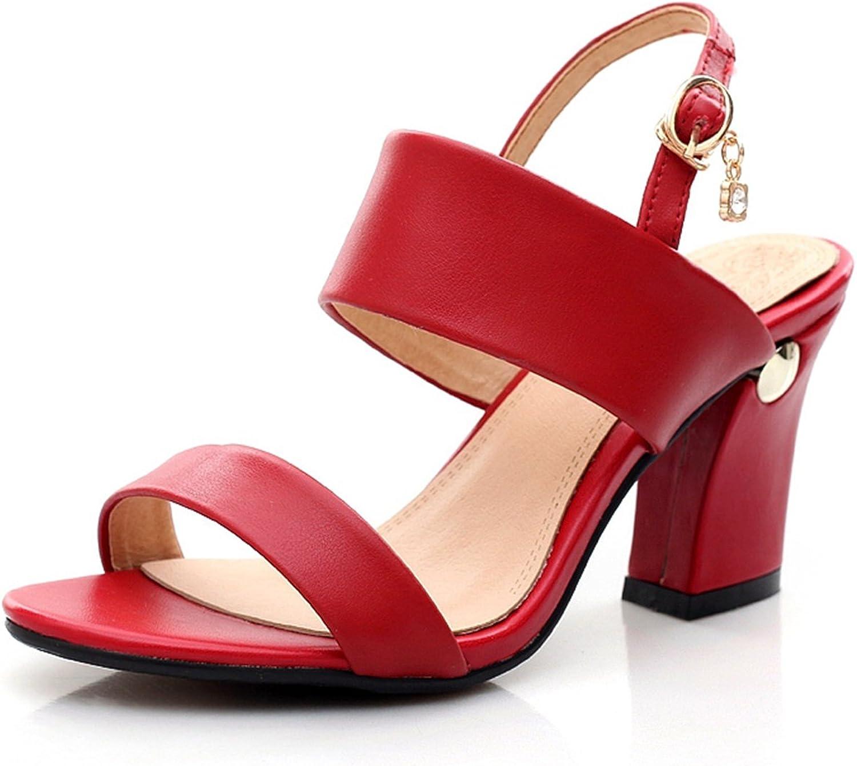 DoraTasia Women's Block Heel Ankle Buckle Sandals