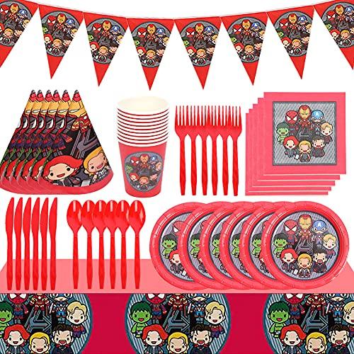 ALHX Set de Fiesta de cumpleaños de Superhéroe 78 PCS Superhéroe Party Decoration Set Platos Tazas Servilletas Pack de Fiesta Mantel Sirve para 10 Invitados