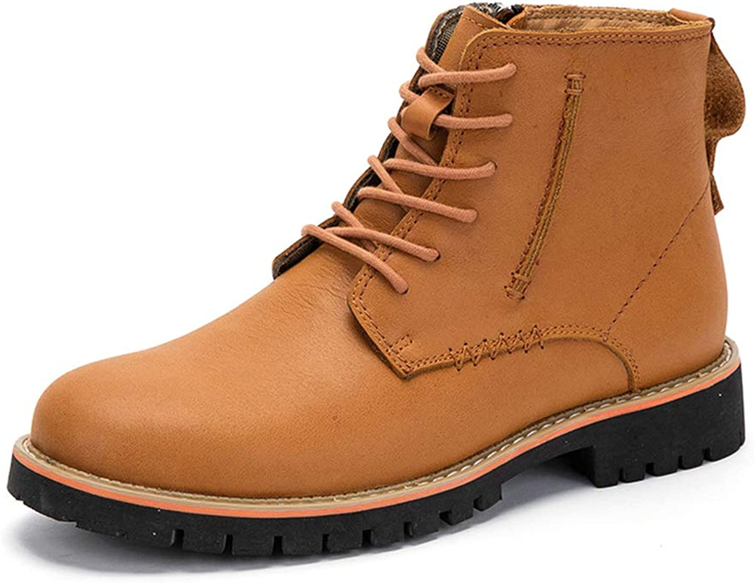 Mens Leather Martin Boots Lace-up Work Satety Boots Autumn Casual Outdoor Footwear Non-Slip Short Ankle Boots