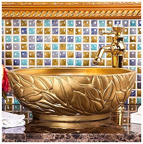 ZTGL Lavabo sobre Encimera de Baño Lavabo Porcelana Forma Redonda Dorado de Hecho a Mano para Baño Lavabos 41 x 41 x 15 CM Fregaderos De Baño del Recipiente,F