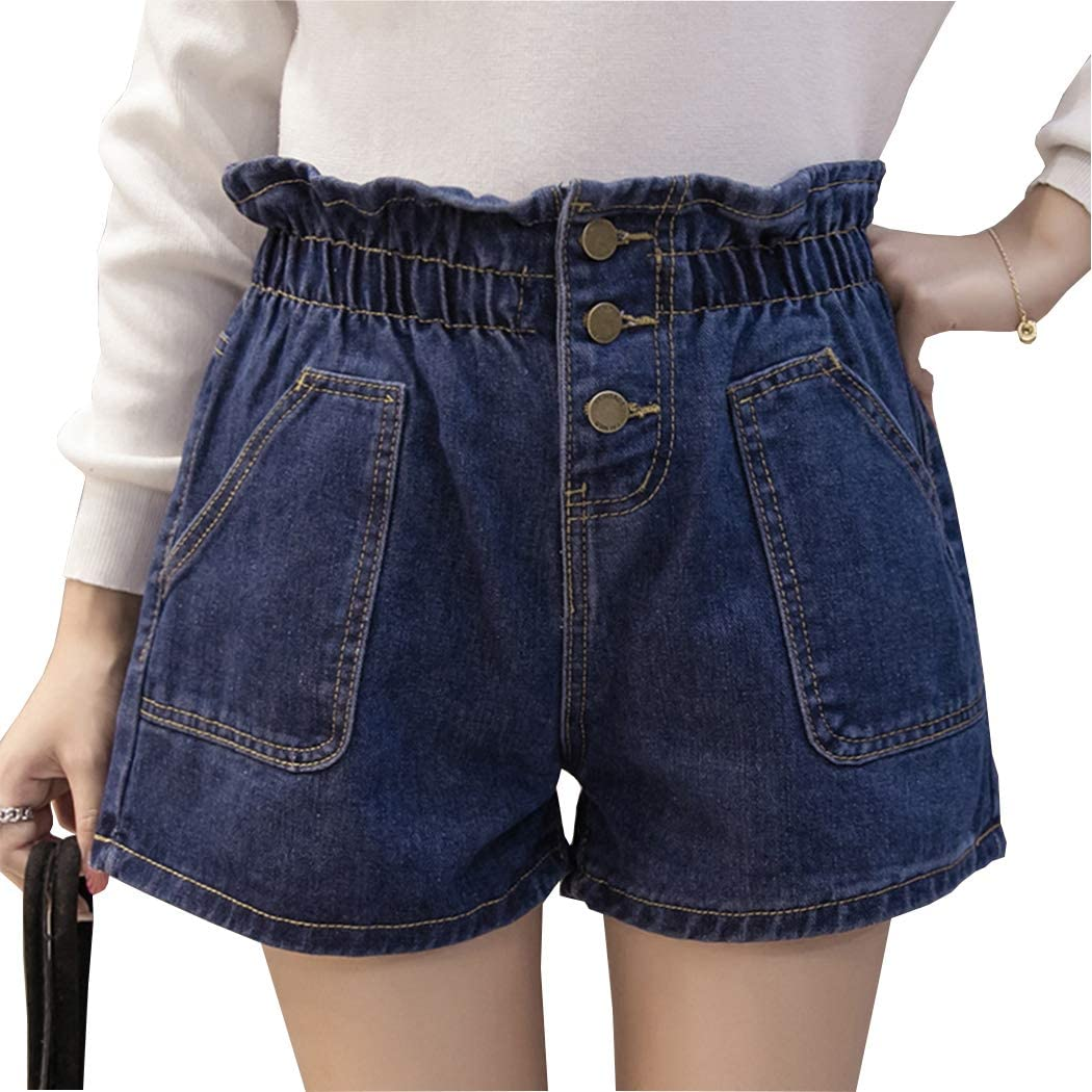 Hixiaohe Women Casual High Elastic Waist Denim Shorts Wide Leg Washed Jean Shorts