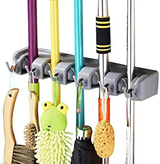 SAVICOS Mop and Broom Holder, Multipurpose Wall Mounted Heavy Duty Tool Organizer Storage Hooks,Ideal Broom Hanger for Kit...
