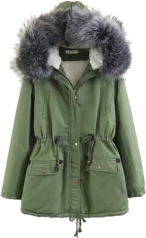 XiaoTianXinWomen XTX Women Fall Winter Faux Fur Hooded Safari Outer Wear Fleece Anorak Parka Jacket
