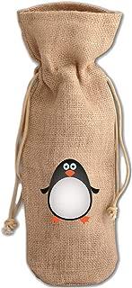 Penguin Cartoon Jute Burlap Wine Drawstring Bag Wine Sack Natural