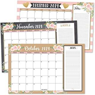Gold Pink Chalk 2020 Large Monthly Desk or Wall Calendar Planner, Floral Giant Planning Blotter Pad, 18 Month Academic Desktop, Hanging 2-Year Date Notepad Teacher, Family Business Office 11x17