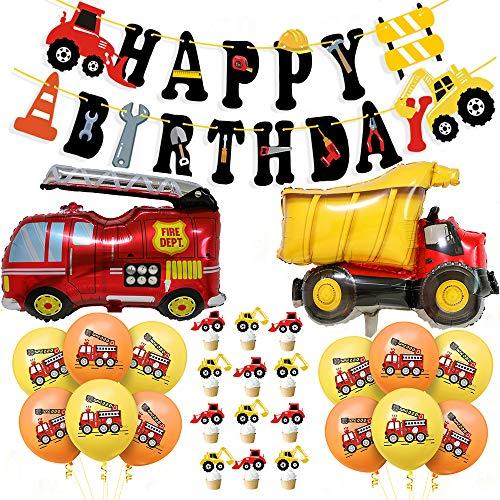 Bagger Party Geburtstagsdeko Kindergeburtstag Deko, BAU Bagger Geburtstag Deko Set für Kinder, Happy Birthday Girlande Banner, Baufahrzeug Feuer Auto Folienballons, Bagger Luftballons Kinderparty Deko