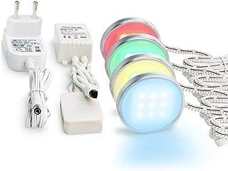 Lámparas de techo, iluminación de vitrina LED SMD5050 para debajo de los muebles con iluminación RGB y adaptador de 12 V, 4 unidades, iluminación LED