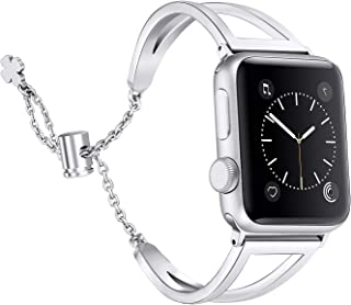 Secbolt Bands Compatible with Apple Watch Band 38mm 40mm iWatch Series 5/4/3/2/1, Women Dressy Metal Jewelry Bracelet Bangle Wristband Stainless Steel, Silver