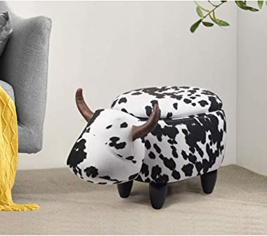 GIA Kids Ottoman with Storage, Foot Stand and Wooden Legs, Clarabelle Milk Cow