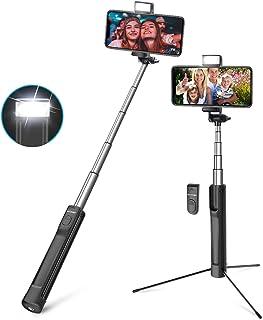 Palo Selfie Trípode con Control Remoto, BlitzWolf 3 en 1 Selfie Stick Bluetooth de Aluminio Extensible con Luz para iPhone XS X 8 8 Plus 7 7 Plus 6, Android, Móviles de 3.5-6 Pulgadas, Cámaras(Negro)
