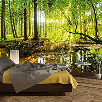 PAPEL PINTADO BOSQUE - MADE IN GERMANY: Este papel pintado de murimage de alta calidad se fabrica en Alemania. Los colores son brillantes, resistentes a la luz y sin olor, por lo que son 100% adecuados para sus espacios de vida. Fácil instalación con...