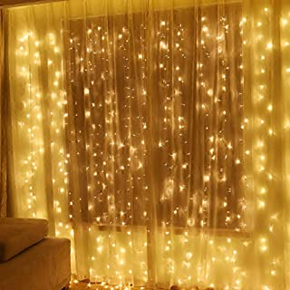 Twinkle Star 600 LED Window Curtain String Light for Wedding Party Home Garden Bedroom Outdoor Indoor Wall Christmas Decorations, Warm White