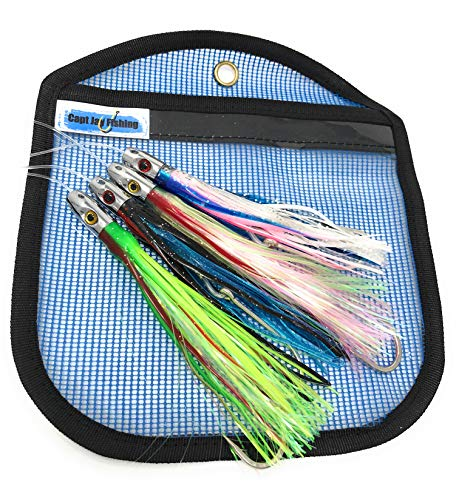 Capt Jay Fishing Trolling Fishing Lures Tuna Wahoo Offshore Inshore Game Fishing Head Octopus Skirts trolling Lure mahimahi Fishing trolling Lure 5 inch 6 inch (Mixed Colors 4pcs Package, 6inch)