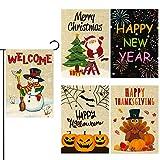 GROBRO7 5Pcs Seasonal Garden Flags Set Double Sided Print Outdoor Decoration Burlap Holiday House Flag Halloween Thanksgiving Christmas New Year Flags Pumpkin Snowman Santa Claus Flags 12x18 Inch