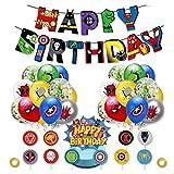 smileh Decorazioni di Compleanno di Supereroi Palloncini Supereroi Banner Supereroe Cake Topper Forniture per Feste Supereroi