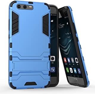 Case for Huawei P10 (5.1 inch) 2 in 1 Shockproof with Kickstand Feature Hybrid Dual Layer Armor Defender Protective Cover (Blue)