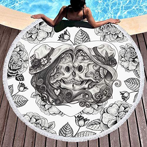 Schädel-Kopf Personalisieren Strandtücher, große runden Beach Blanket Tischdecke Yoga Meditation Tuch mit Quasten dicken weichen Fade-Widerstand 59 Inches