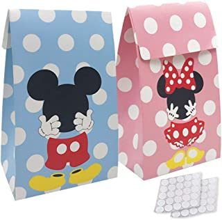 20 Packs Mickey Minnie Paper Candy Favor & Treat Bags for All Parties, Perfect for Birthday Parties, Baby Shower, Weddings and Bridal Showers