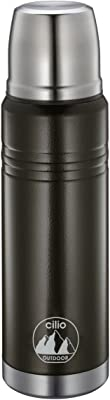 Cilio Monte Insulated Stainless Steel Travel Beverage Bottle, 25 oz, Black