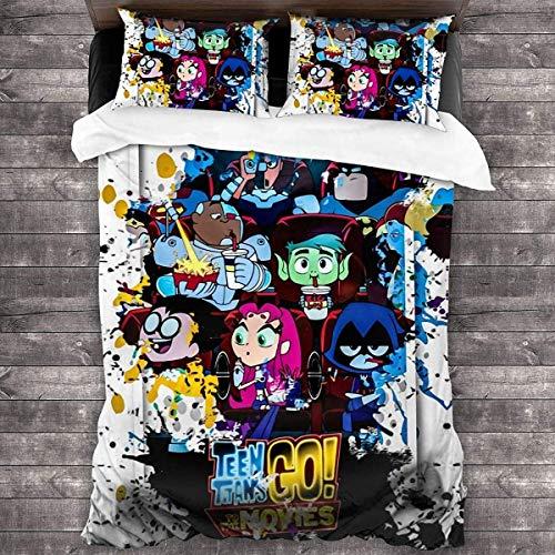 YOMOCO Juego de ropa de cama Teen Titans Go. Juego de ropa de cama de dibujos animados, 3 piezas, tejido de alta calidad, muy suave y cómodo, (go2,220 x 240 cm + 50 x 75 cm x 2)
