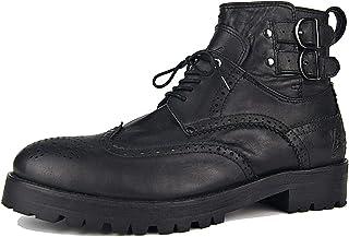 Huegu Bottes Martin en Cuir véritable pour Hommes Bottines Chukka avec Boucle et Fermeture éclair Chaussures décontractées...