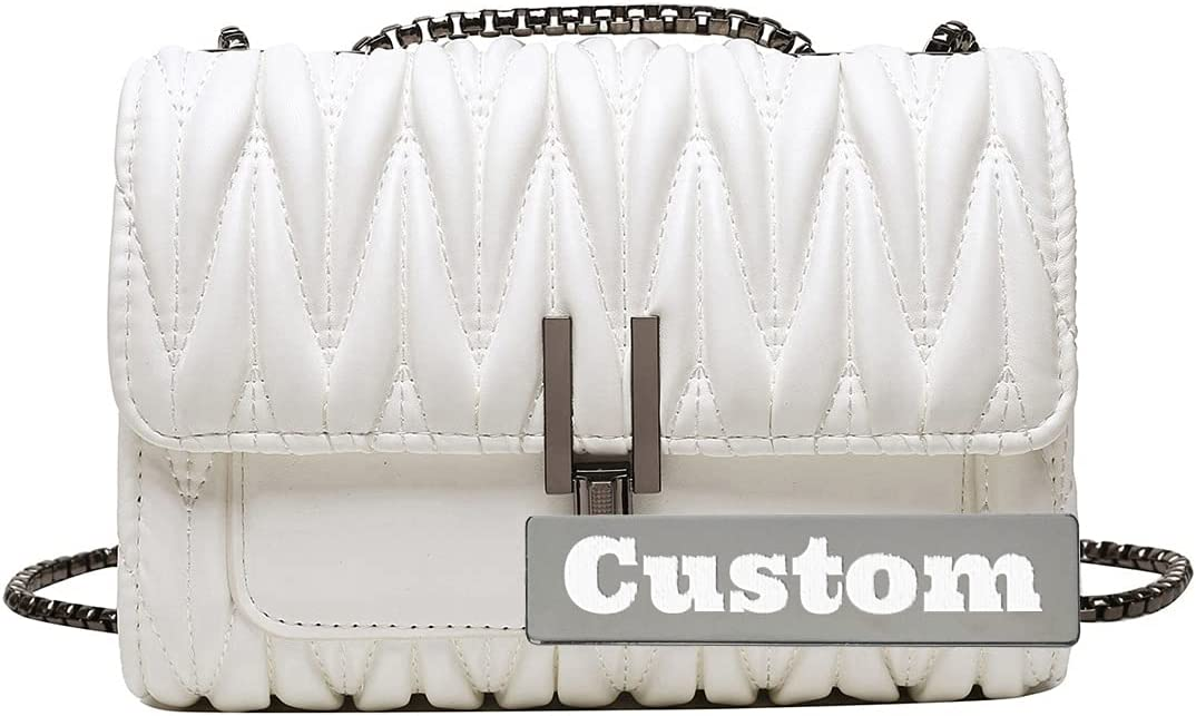 NANSHAN✅ Personalized Custom Name Compartments Soft Shoulder Bag Purse Light Clutch Leather (Color : White, Size : One Size)
