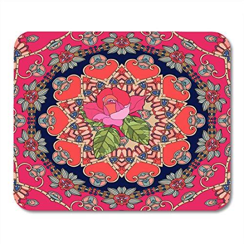 Mauspads Kissen Red Bandana Festlich mit süßer rosa Rose auf dekorativem Patchwork-Muster im russischen Stil Teppich Mauspad für Notebooks, Desktop-Computer Matten Büromaterial