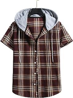 Men Sports Shirt V-Neck Regular Fit T-Shirt Classic Fashion Checkered Print Running Shirt Button Placket Causal Shirt Comf...