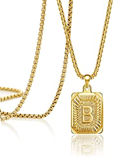 Joycuff 14K Gold Filled Initial Capital Letter Pendant Necklace Square Alphabet Rectangle Medallion Personalized Handmade Stainless Steel Simple Jewelry Gifts for Women Men Teenagers Best Friends