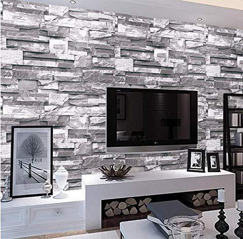 3D Non-Woven Mural 3D Slate Stone Brick Retro Home Decor Designer Wall Paper Roll Brick Wallpaper Gray