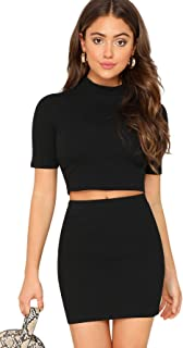 SheIn Women's 2 Pieces Knit Ribbed Mock Neck Crop Top and Mini Skirt Set