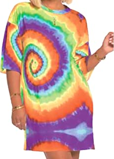 YouSexy Women's Casual Loose T-Shirt Dress Tie Dye Mini Dress with Half Sleeve
