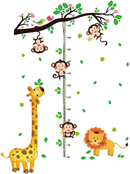 Cartoon Animals Growth Chart Wall Stickers Height Measurement Removable Wall Decals Home Decor Art Mural Baby Boys Girls Kids Bedroom Kitchen Room Decoration Lion Giraffe Monkey Height Measurement