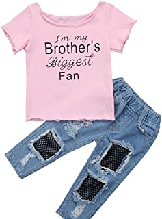 Weixinbuy Baby Girls Summer Clothes Set Letter Print Crewneck Short Sleeve T-Shirt Tops + Denim Pants Trouser