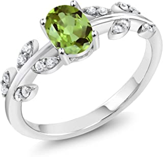 925 Sterling Silver Green Peridot Olive Vine Women's Ring 1.01 Ct Oval Gemstone Birthstone (Available 5,6,7,8,9)