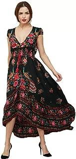 Women's Short Sleeve Dress Loose Casual Printing Swing Irregular Dresses Simple (Color : Black, Size : 4XL)