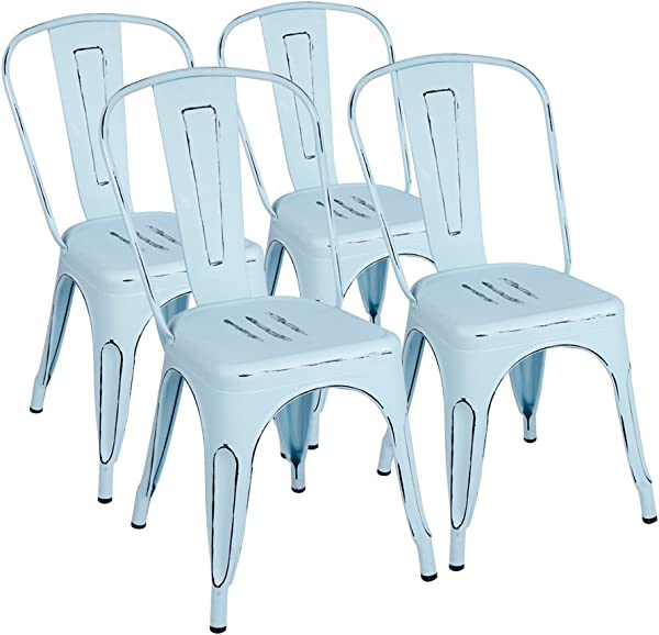 Furmax Metal Chairs Indoor Outdoor Use Stackable Chic Dining Bistro Cafe Side Chairs Set Of 4 Dream Blue