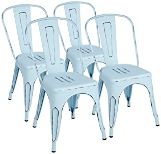 Furmax Metal Dining Chair Indoor-Outdoor Use Stackable Classic Trattoria Chair Chic Dining Bistro Cafe Side Metal Cha...