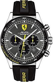 FERRARI MEN'S GREY DIAL BLACK SILICONE WATCH - 830594