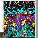 Gdmoon Duschvorhang Psychedelic Pilz Planet Fantasy Galaxy Eye Hippie Bohemian Sonne Quallen Bunte Graffiti Koralle abstrakte Kunst Stoff Badezimmer Vorhang-Set 12 Haken 182,9 x 182,9 cm YLWHGD779
