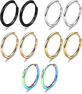 گوشواره های حلقه ای 5 جفت 316L از جنس استنلس استیل گوشواره حلقه ای کوچک 8mm 10mm 12mm 14mm حلقه های ضد حساسیت حلقه های مارپیچ حلقه های مارپیچ گوش های خوابیده برای مردان برای سوراخ های متعدد