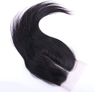 Hairpieces Hairpieces Fashian Human Hair Bundles with Free Part Lace Closure 4 * 4inch Unprocessed 100% Hair Weave Extensions Natural Color for Daily Use and Party (Color : Black, Size : 10 inch)