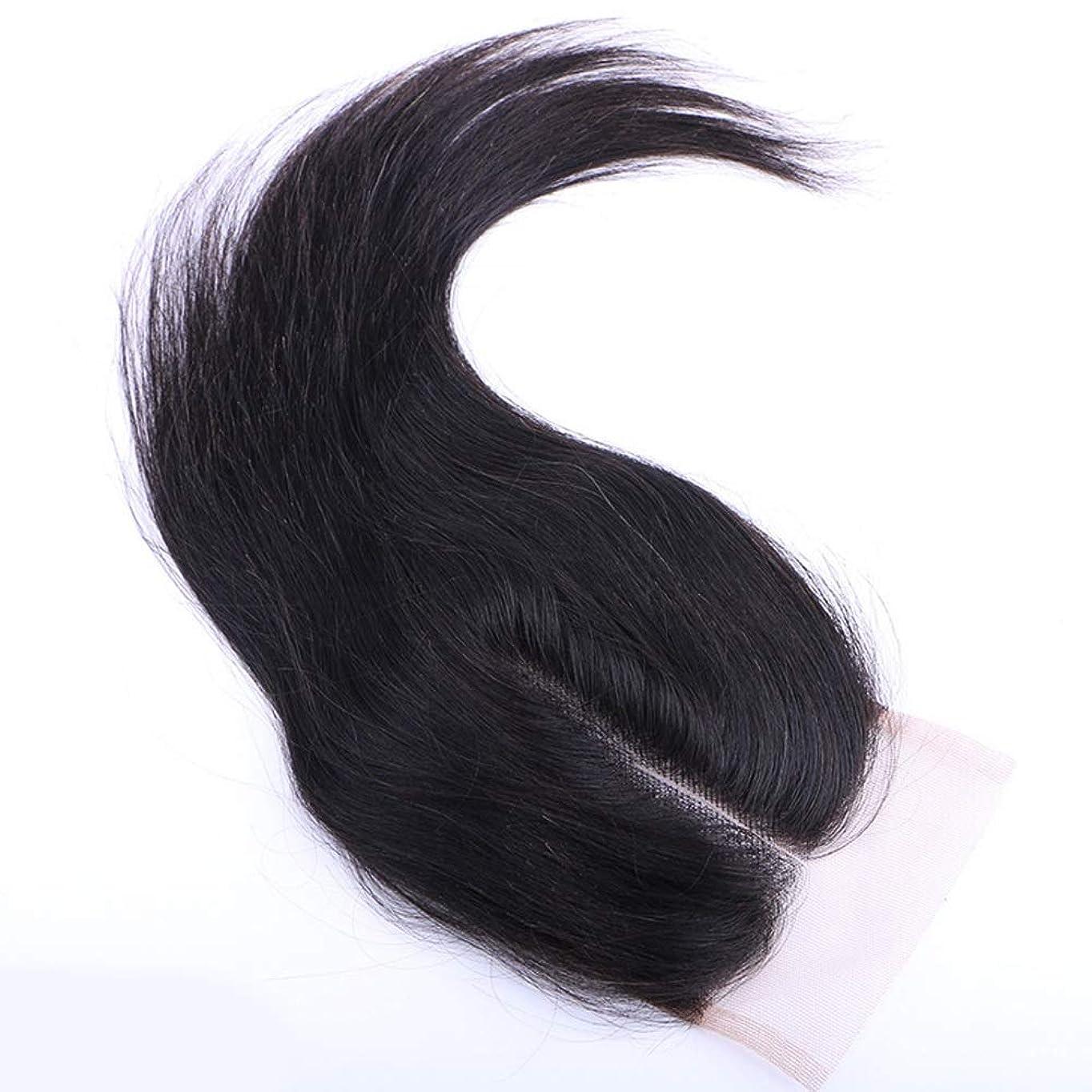 親指デコラティブ世辞BOBIDYEE 自由な部分レース閉鎖4 * 4インチ未処理の100%髪織りエクステンションナチュラルカラー女性複合かつらレースかつらロールプレイングかつら付き人毛バンドル (色 : 黒, サイズ : 12 inch)