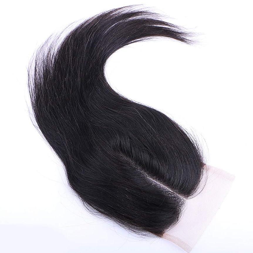 肺炎以降懺悔BOBIDYEE 自由な部分レース閉鎖4 * 4インチ未処理の100%髪織りエクステンションナチュラルカラー女性複合かつらレースかつらロールプレイングかつら付き人毛バンドル (色 : 黒, サイズ : 12 inch)