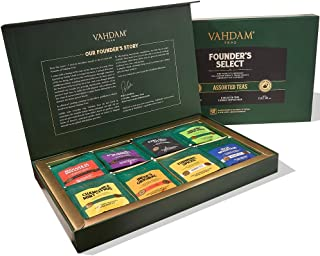 VAHDAM, Assorted Tea Bag Sampler - 8 Tea Flavors, 40 Tea Bags for Every Day Consumption | Black Tea, Green Tea, Oolong Tea...